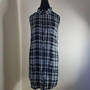 No Boundaries Black Plaid Button Down Shirt Dress